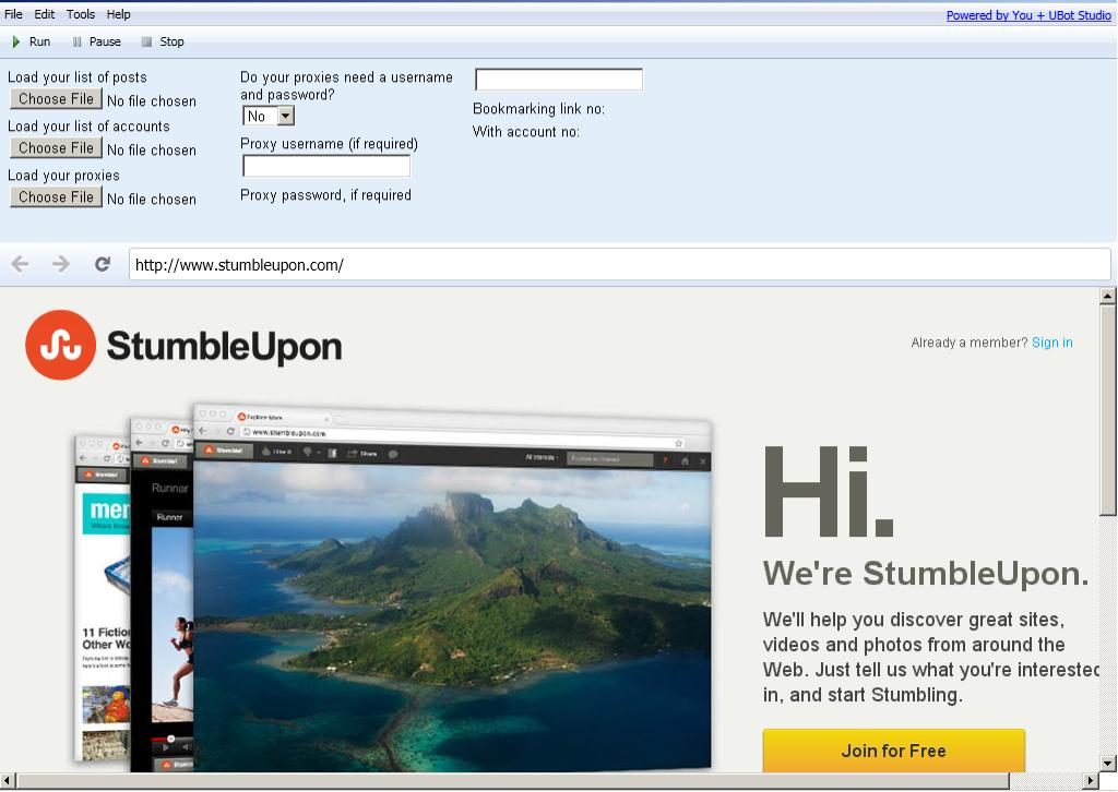 StumbleUpon Auto Submitter