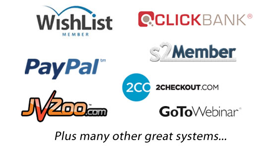 Integration with Clickbank,JVzoo, Paypal,Wishlist, GotoWebinar